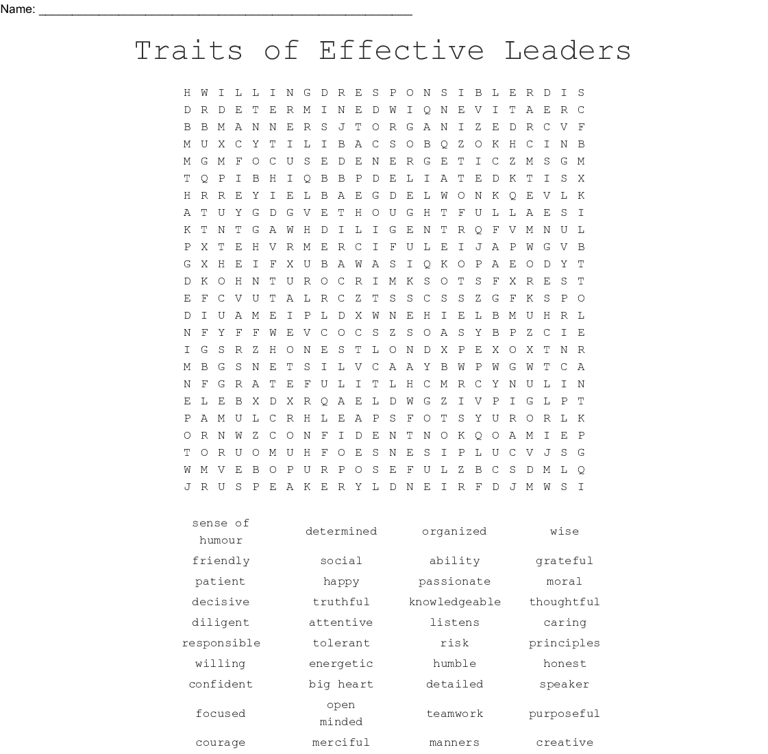 Qualities Of A Leader Word Search