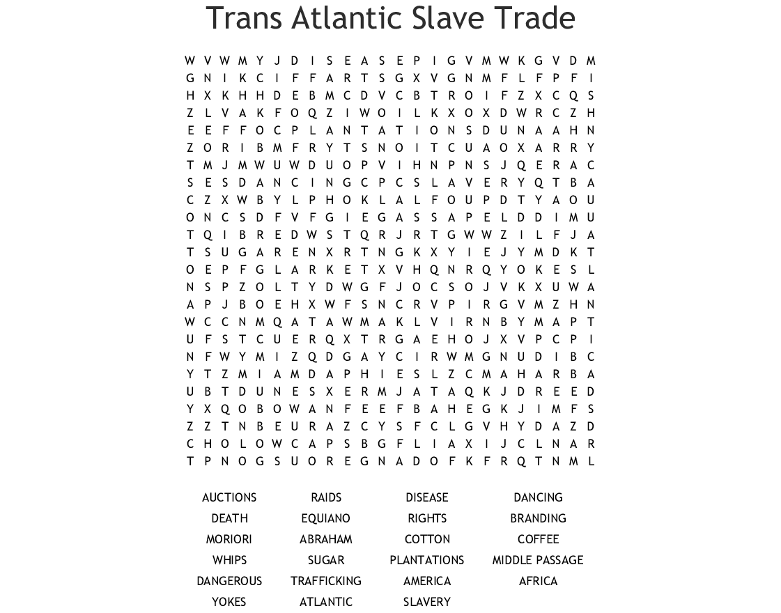 Slave Trade Crossword