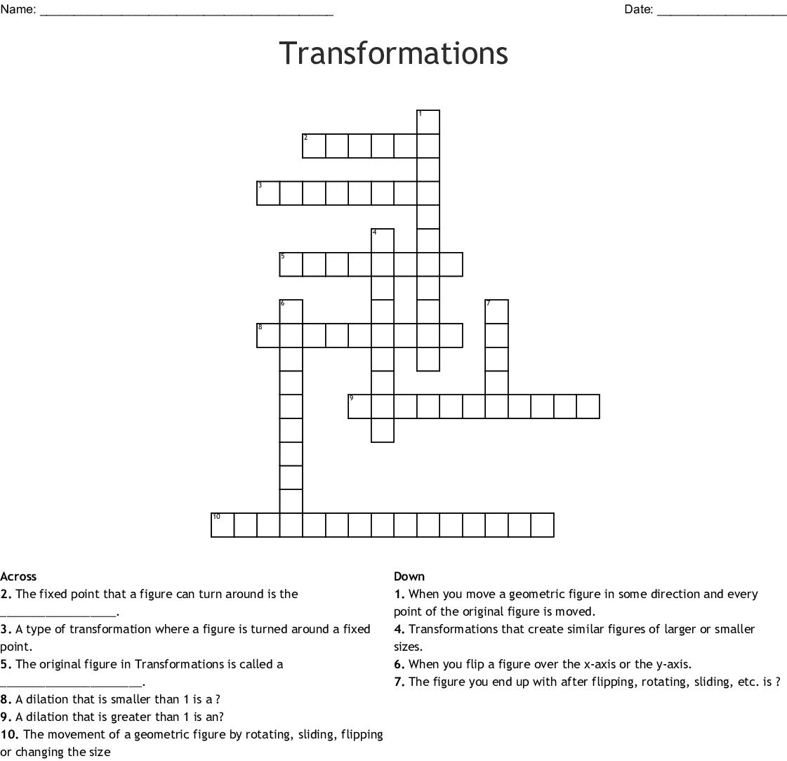 Transformations Crossword Puzzle