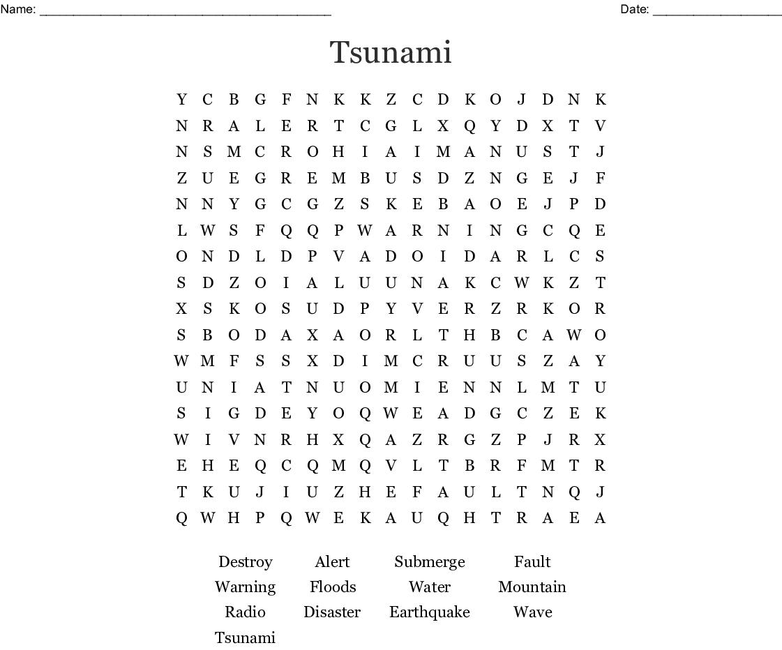 Tsunami Word Search