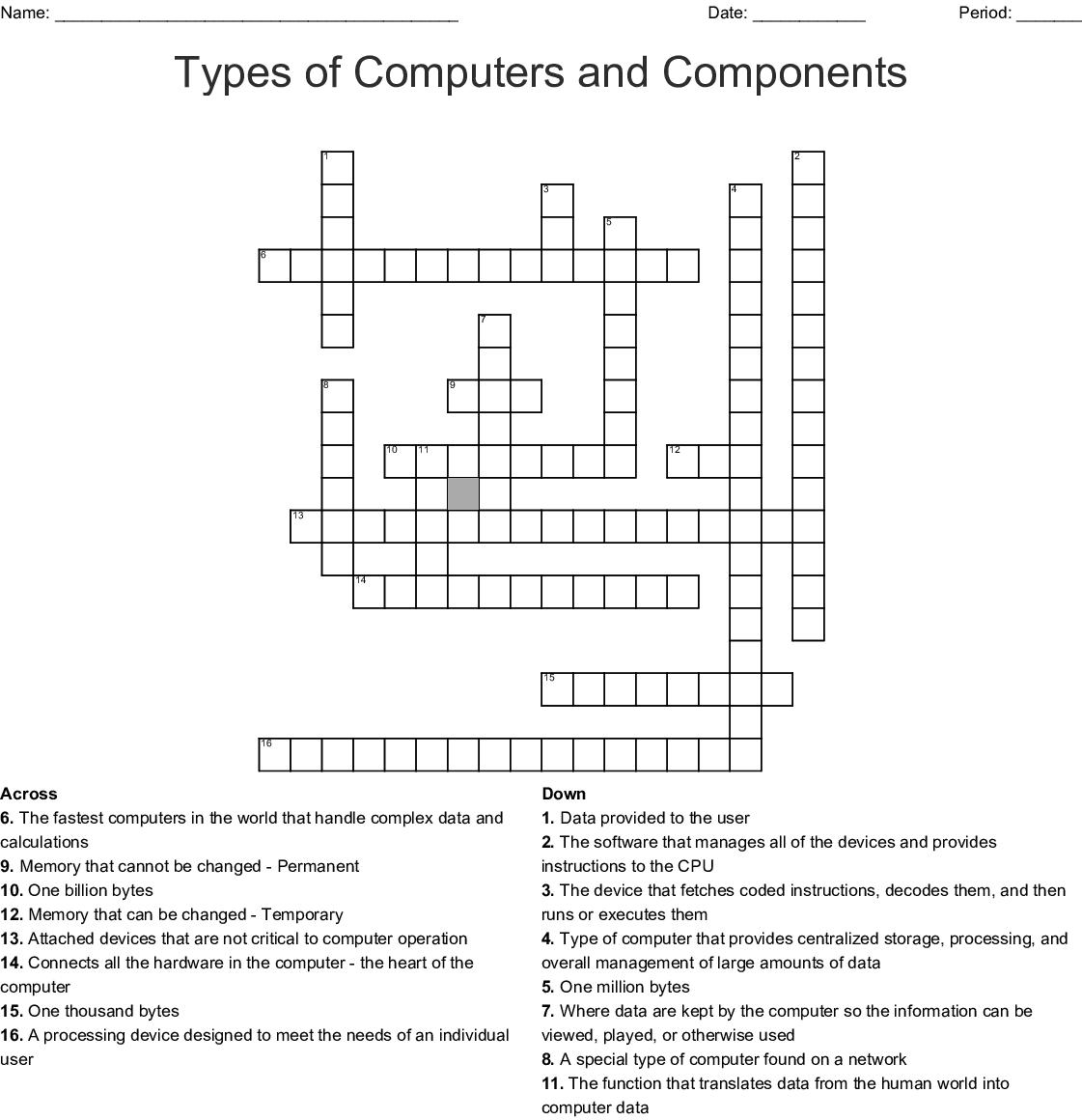 Computer Hardware Crosswords Word Searches Bingo Cards