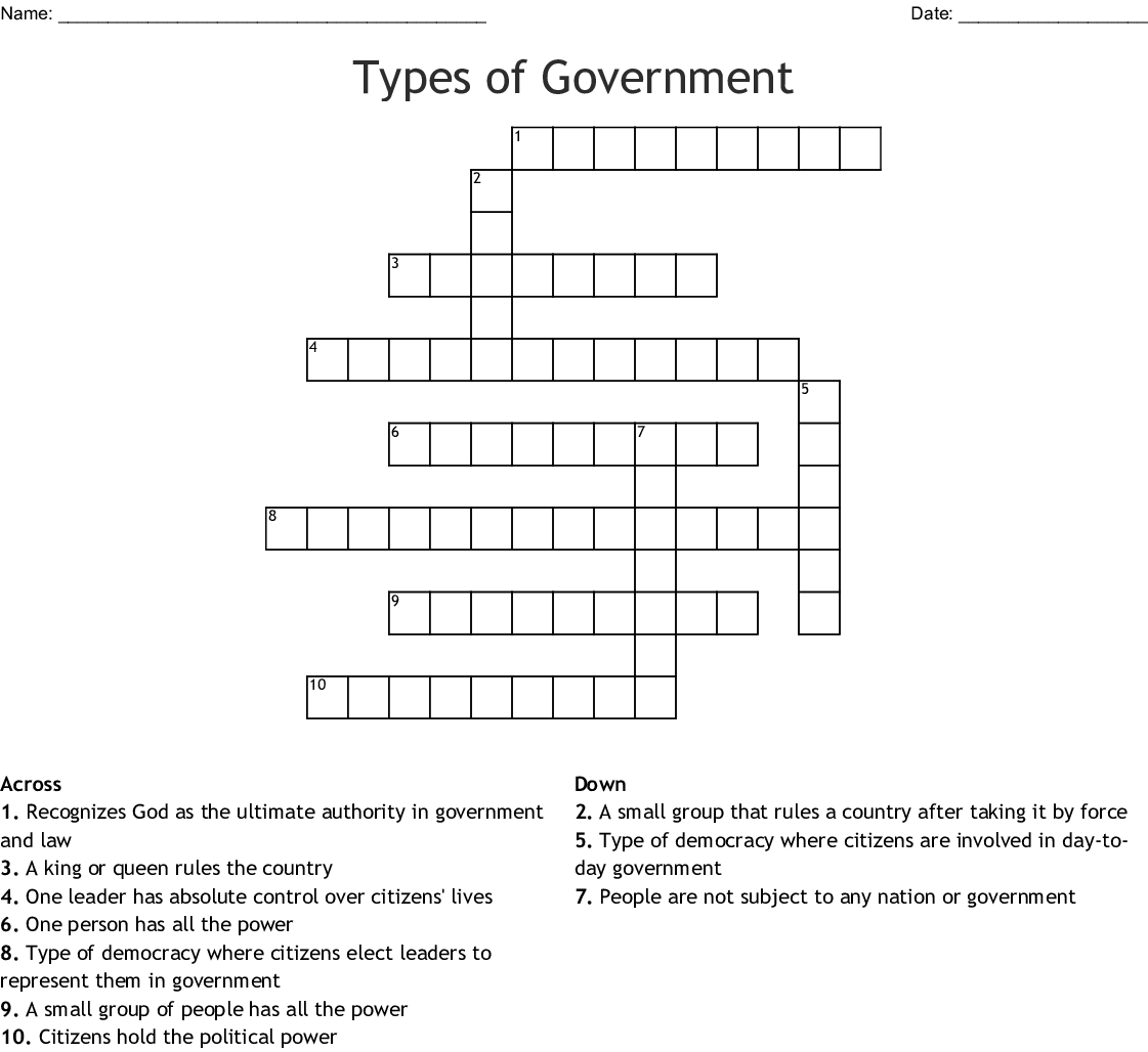 Government Crosswords Word Searches Bingo Cards