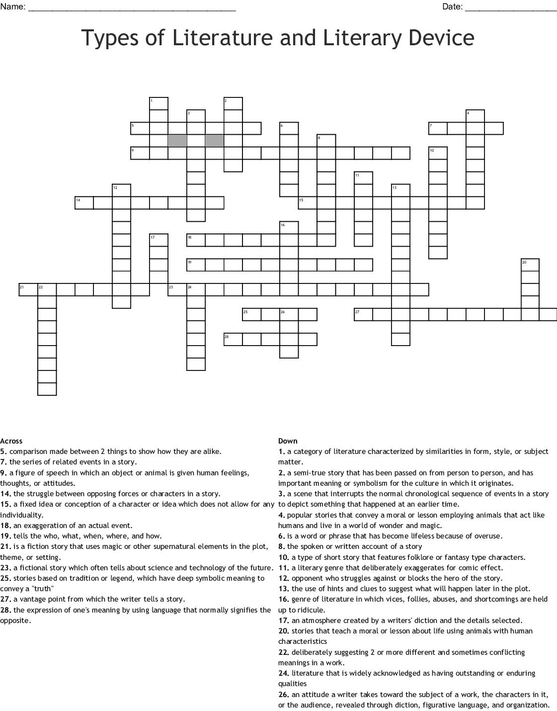 Types Of Literature And Literary Device Crossword