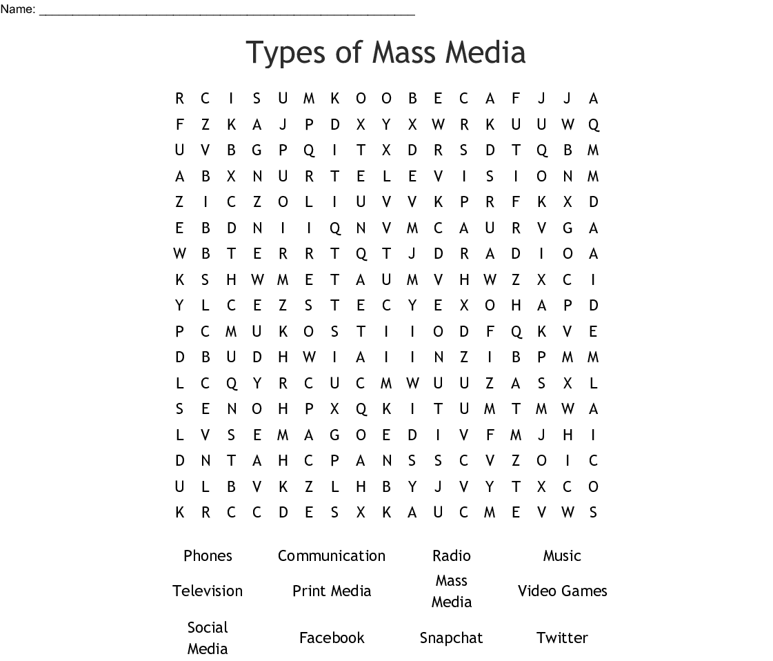 Types Of Mass Media Word Search