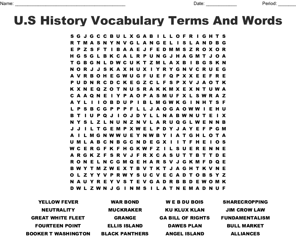 U S History Vocabulary Word Search