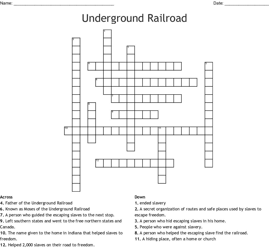 Underground Railroad Crossword