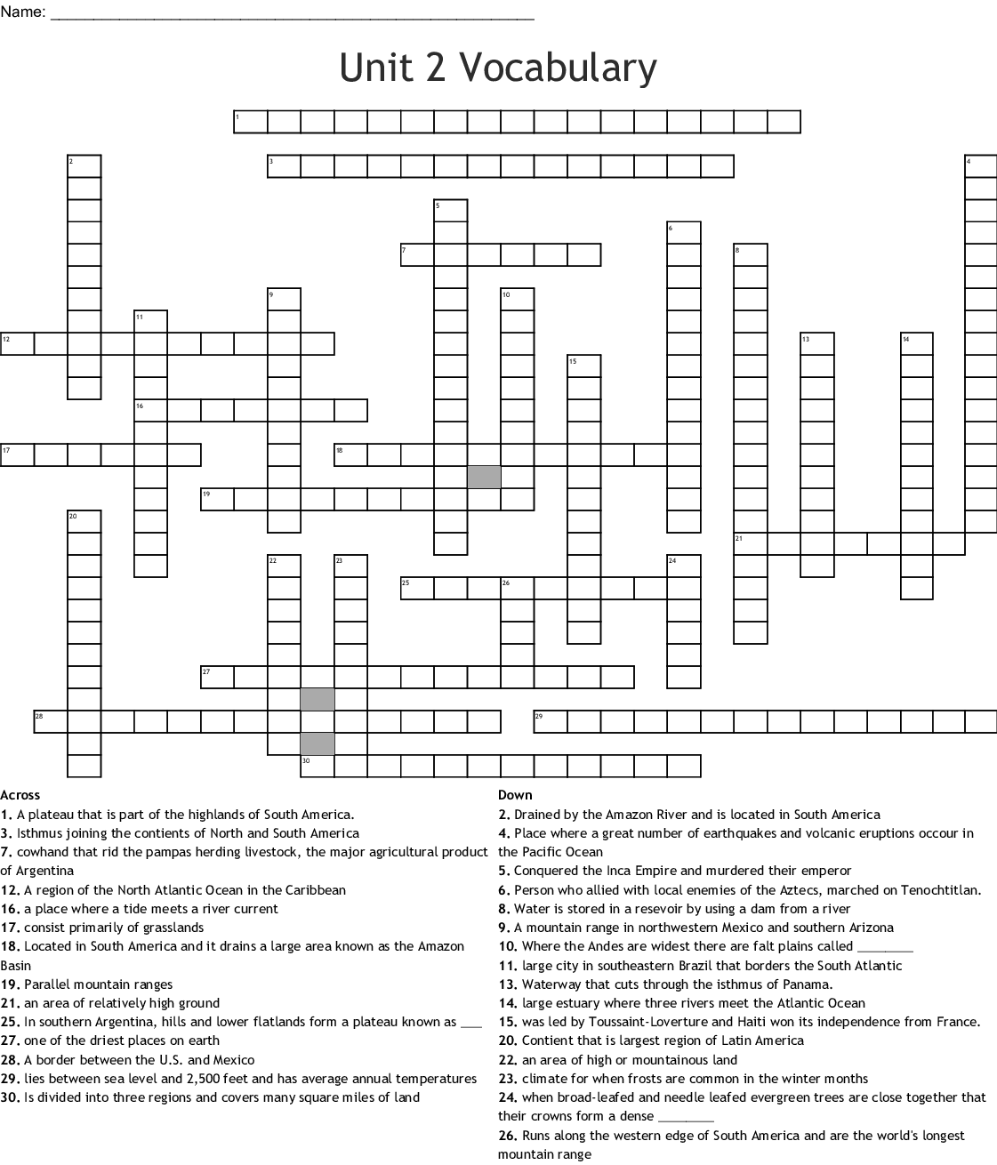 Unit 2 Vocabulary Crossword