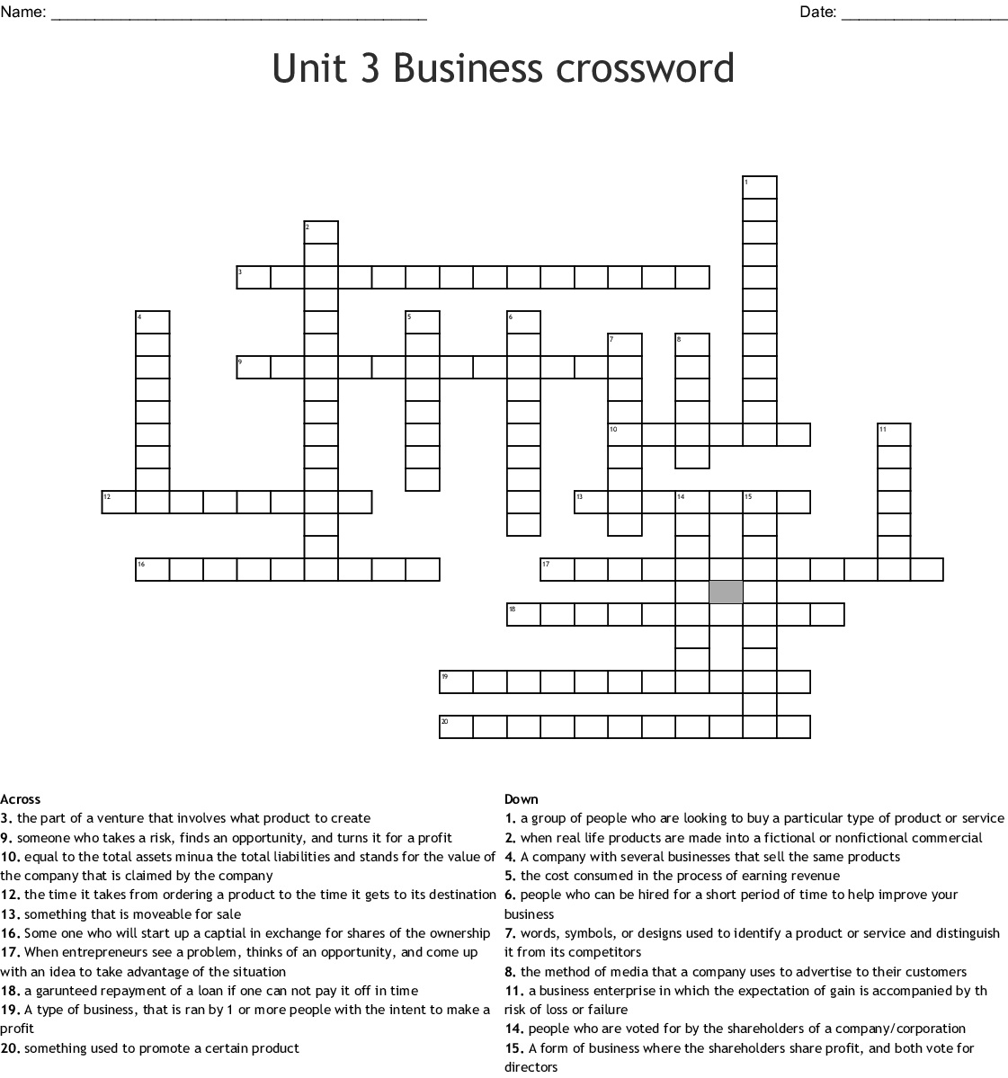 Unit 3 Business Crossword