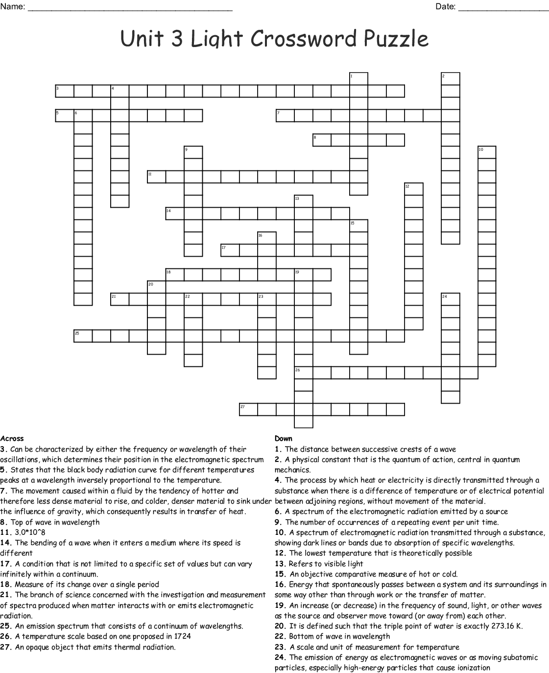 Waves Sound And Light Crossword