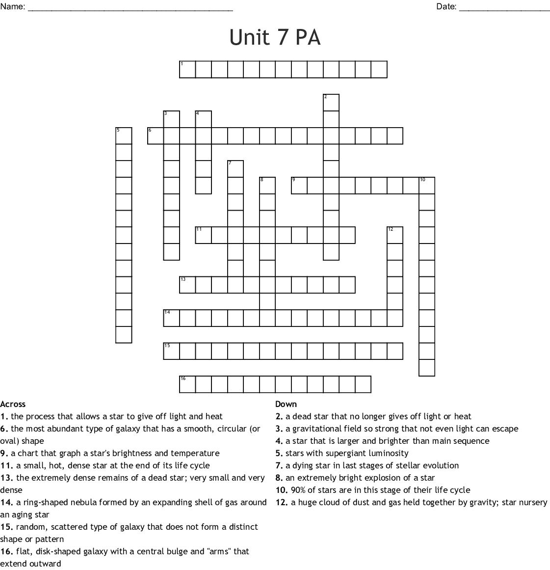 Unit 7 Pa Crossword
