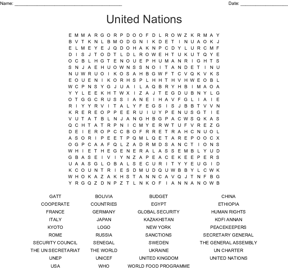 United Nations Word Search