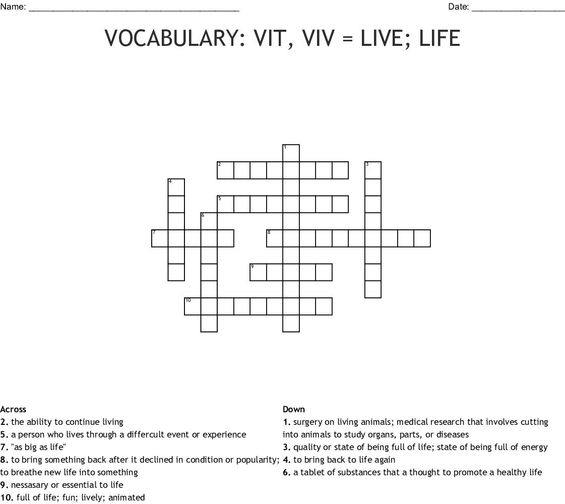 Vocabulary Vit Viv Live Life Crossword