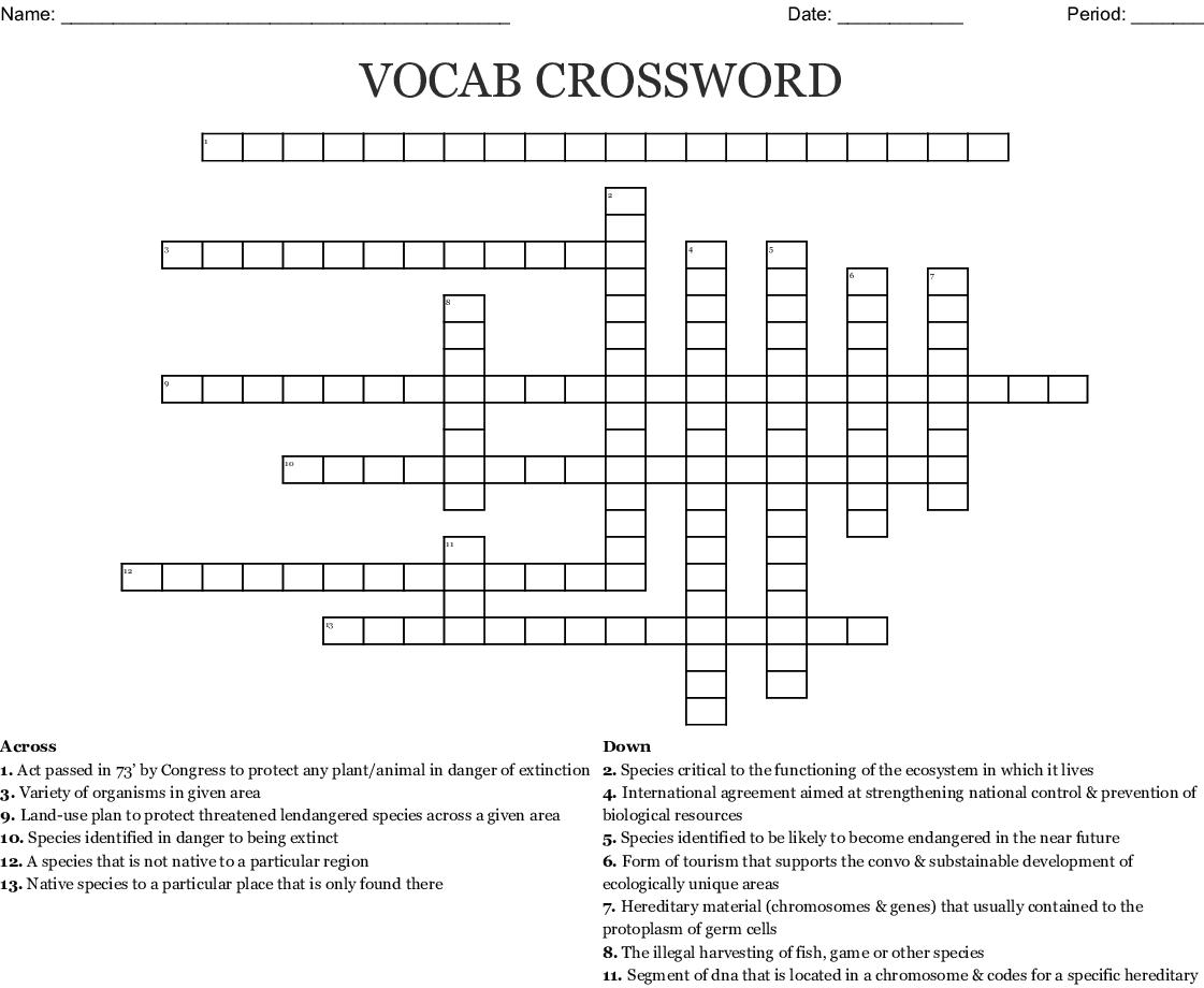 Vocab Crossword