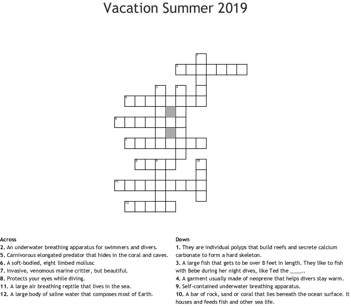 Vacation Summer Crossword