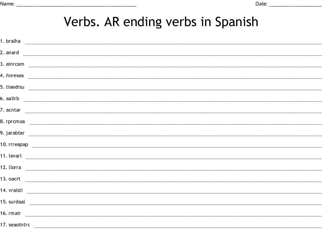 Verbs Ar Ending Verbs In Spanish Word Scramble