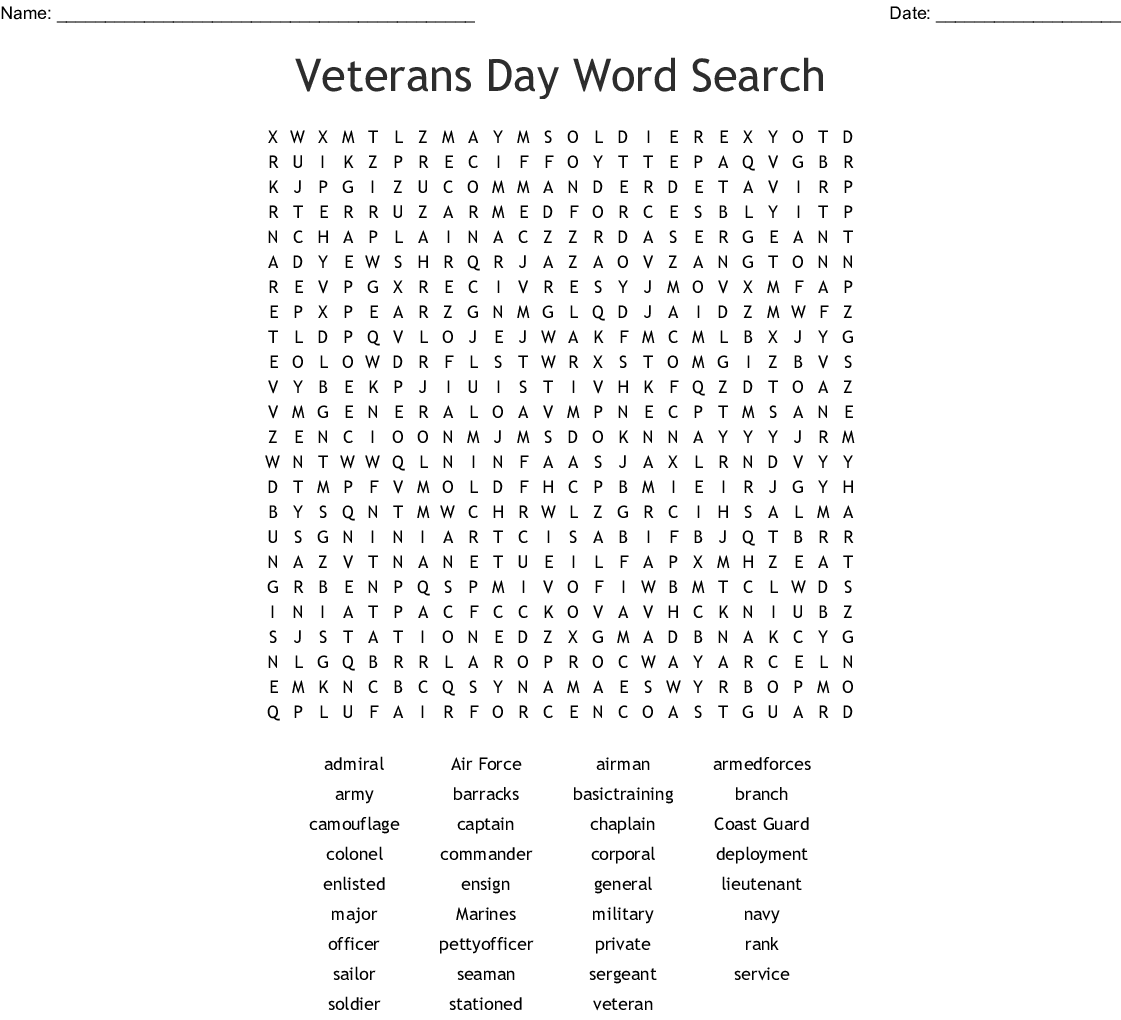 Military Word Search