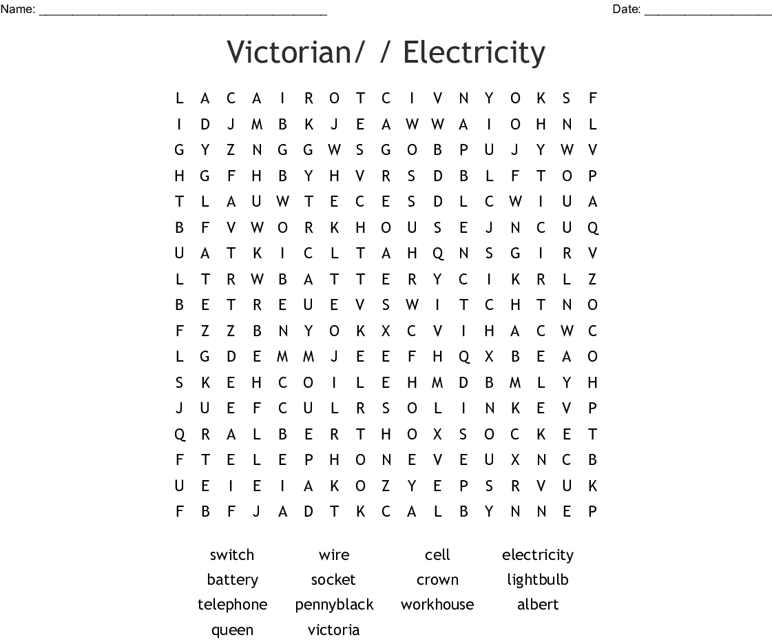 Victorian Electricity Word Search