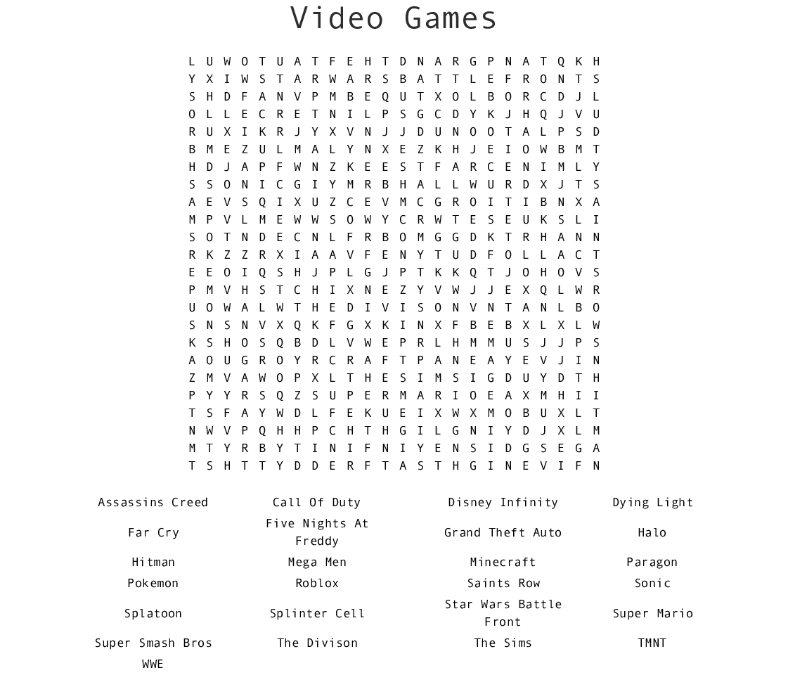Mario Wordshearch Worksheet Printable Worksheets And Activities