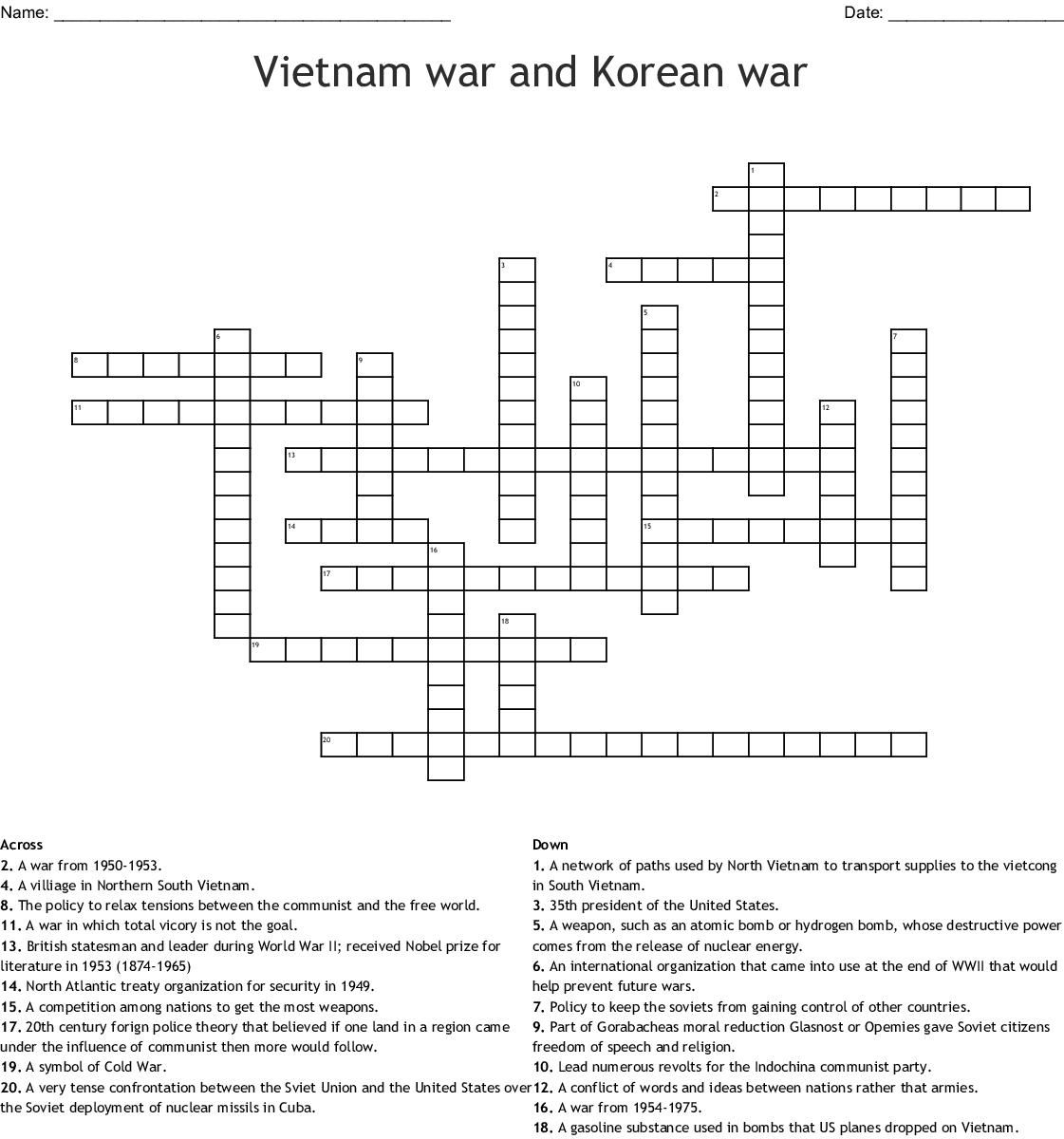 Vietnam War Crossword
