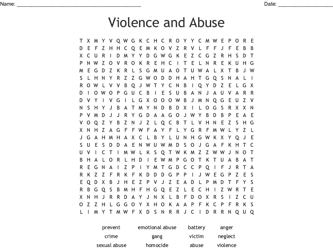 Violence Amp Abuse Word Search
