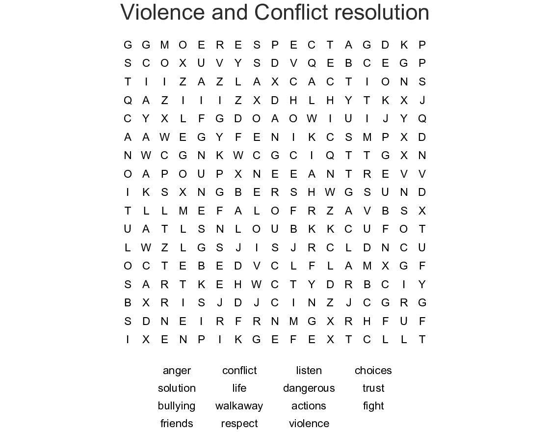 Conflict Resolution Word Search