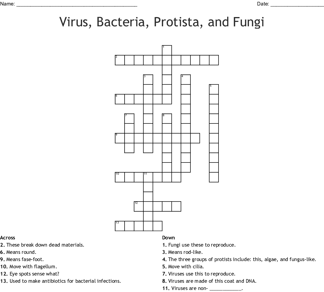 Introduction To Microbiology Crossword