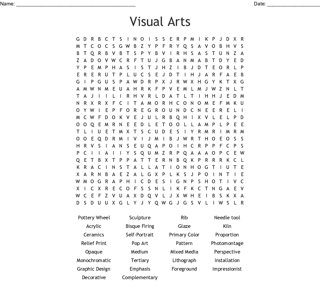 Visual Arts Word Search