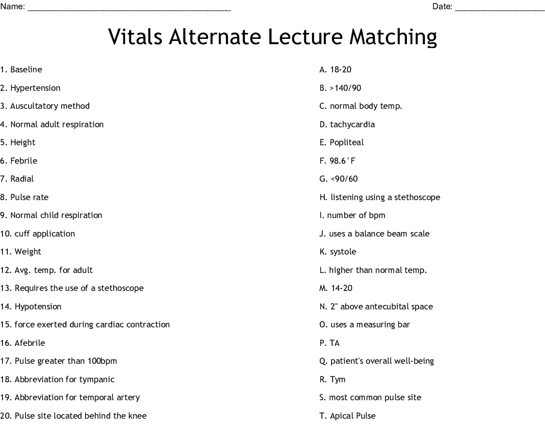 Vitals Alternate Lecture Matching Worksheet