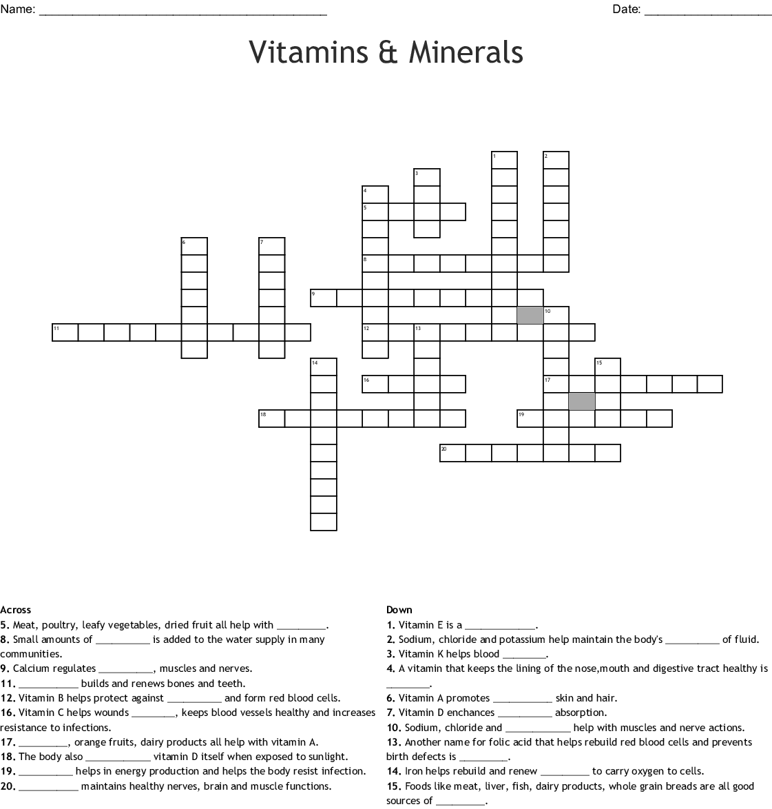 Vitamin C Word Search