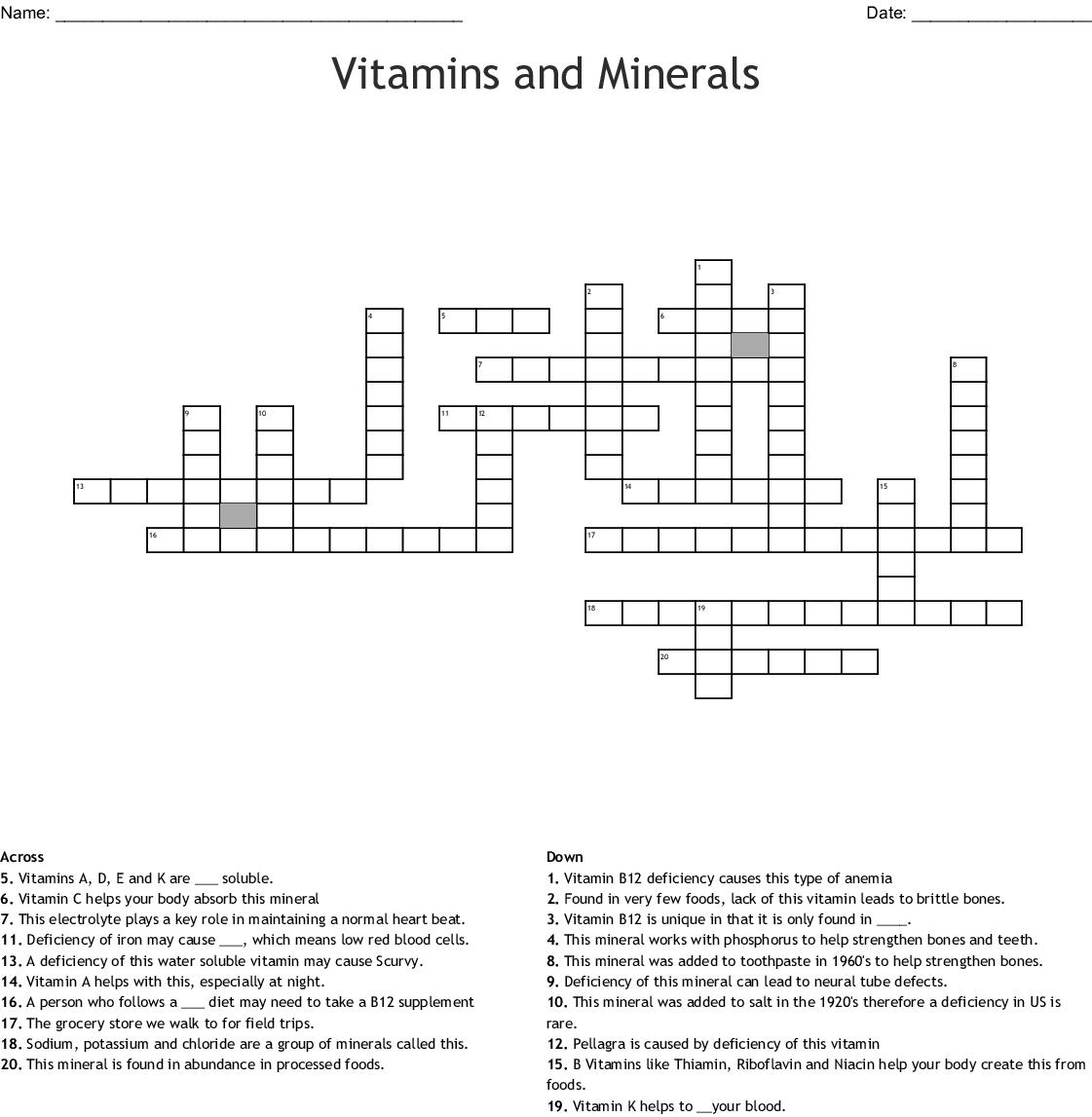 Vitamins And Minerals Worksheet