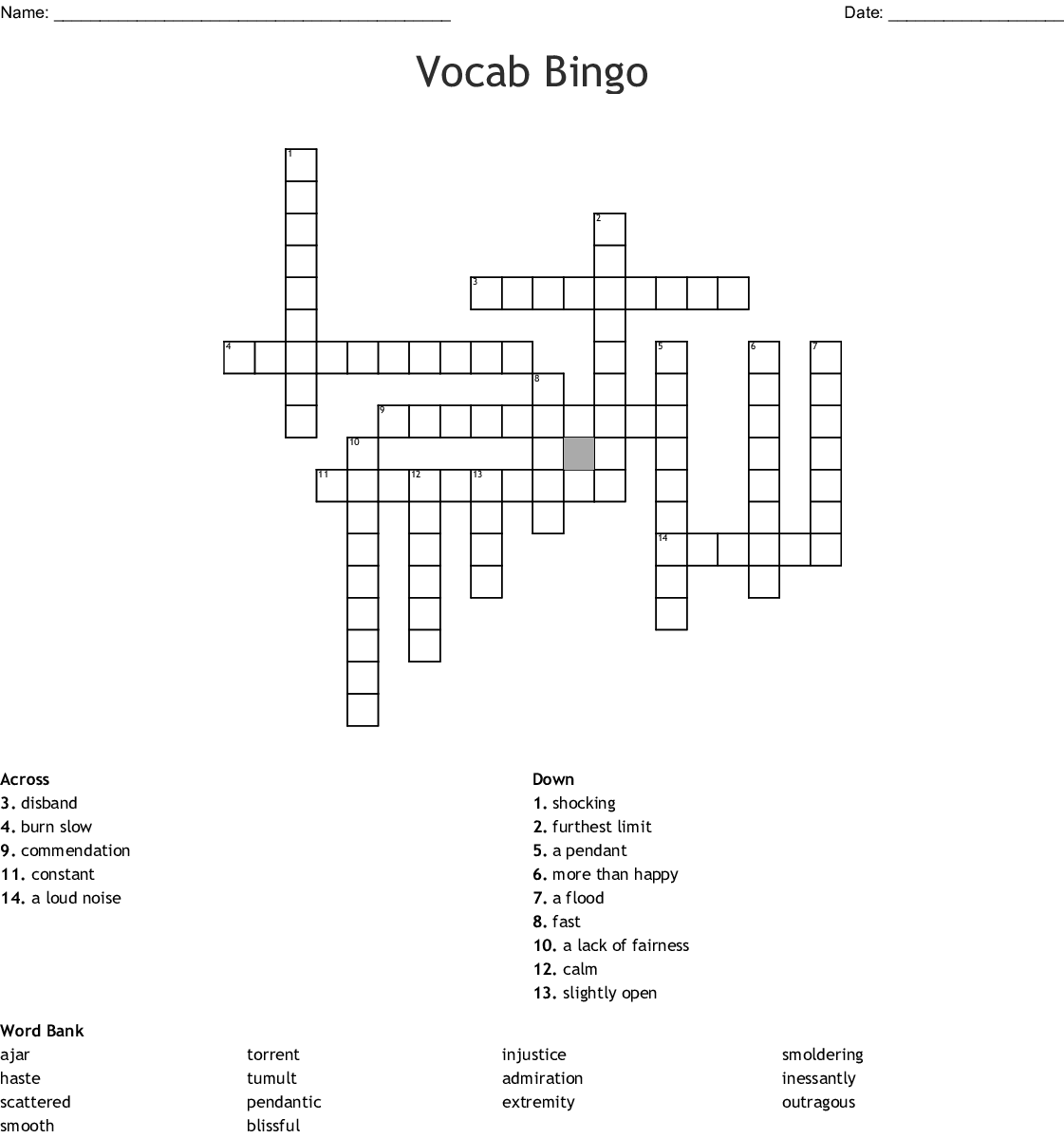 Vocab Bingo Crossword