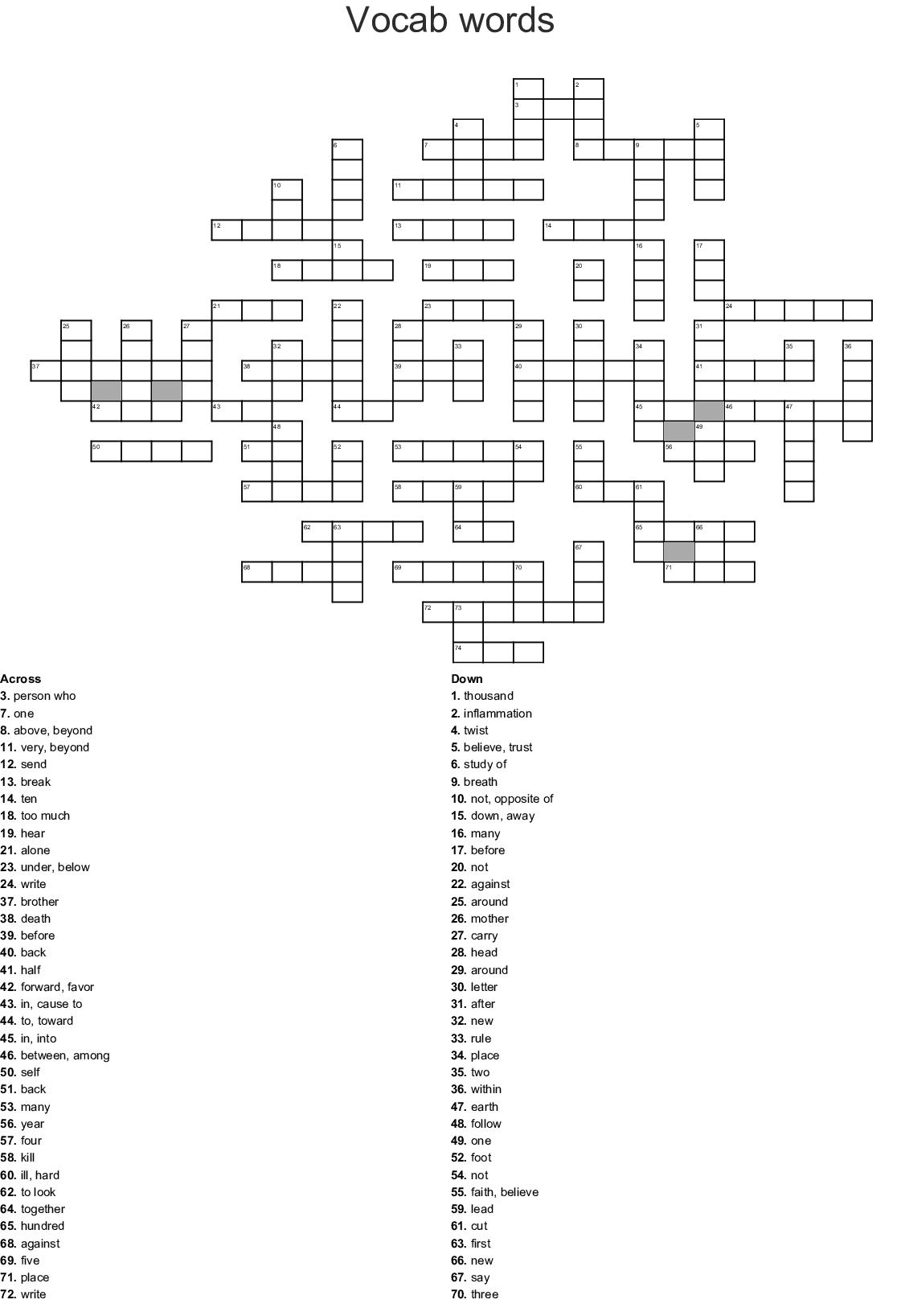 Prefixes Crossword