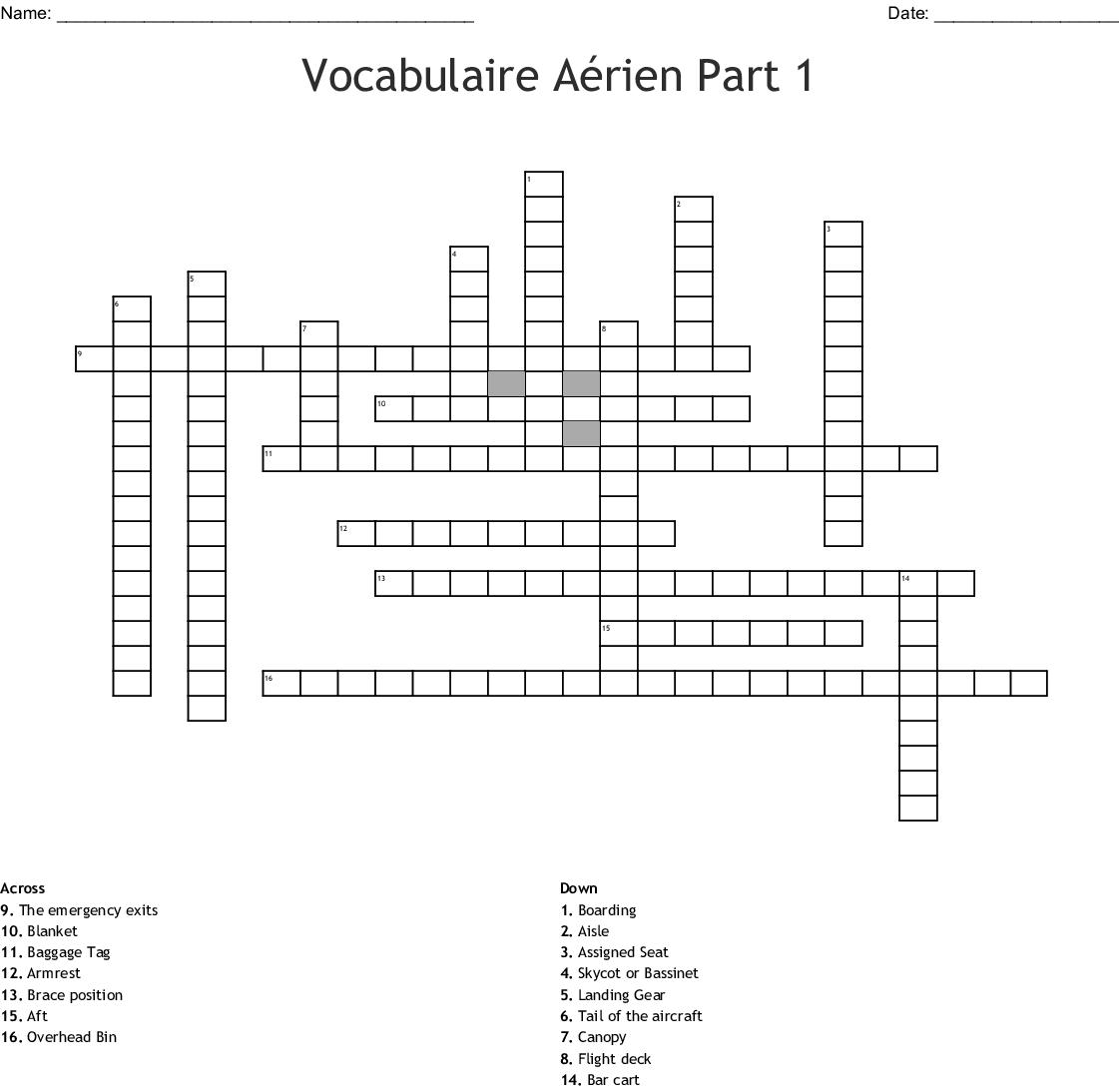 French Vocabulary Worksheet