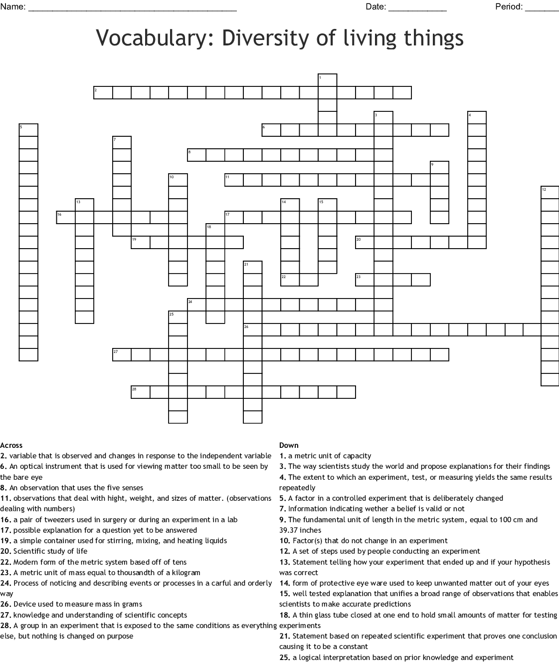 Vocabulary Diversity Of Living Things Crossword