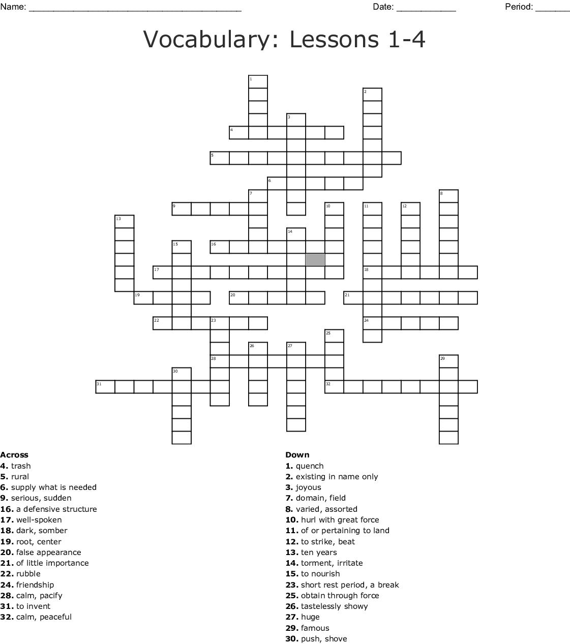Lessons 1 4 Vocabulary Crossword