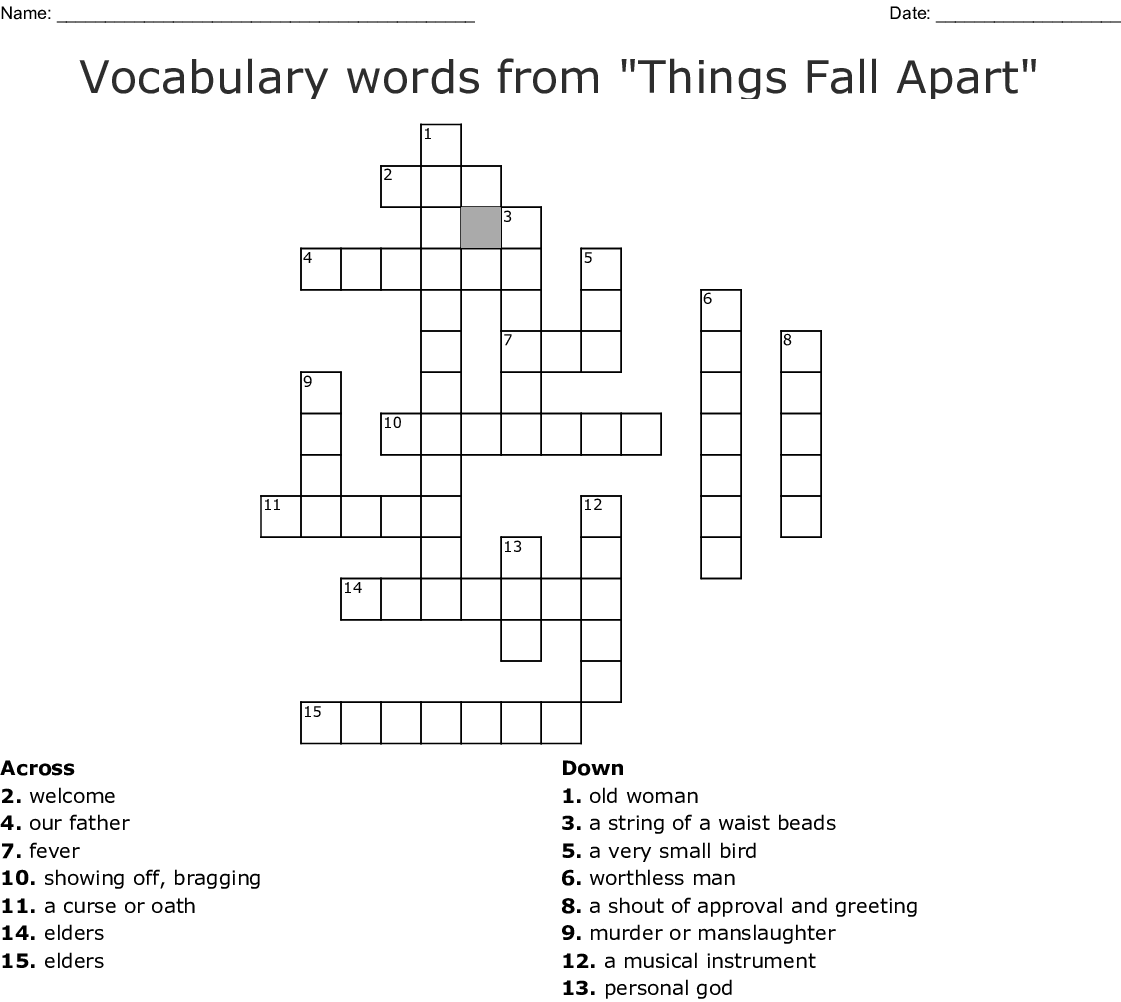 Vocabulary Words From Things Fall Apart Crossword