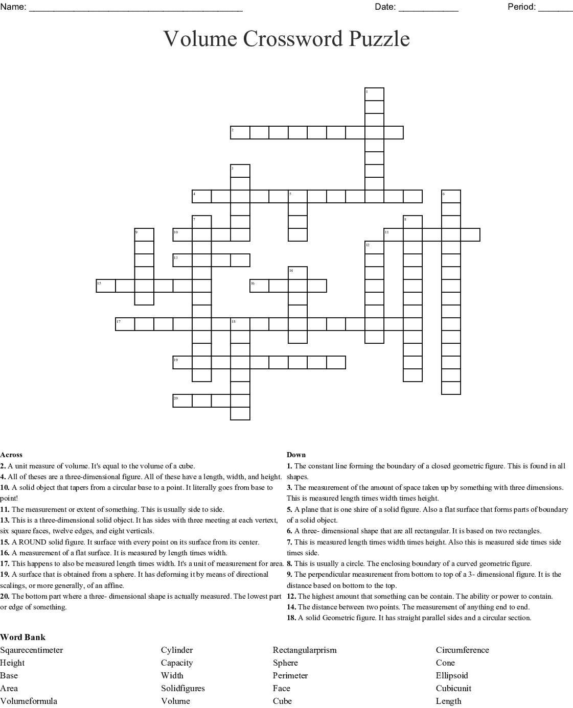 Surface Area And Volume Puzzle Crossword