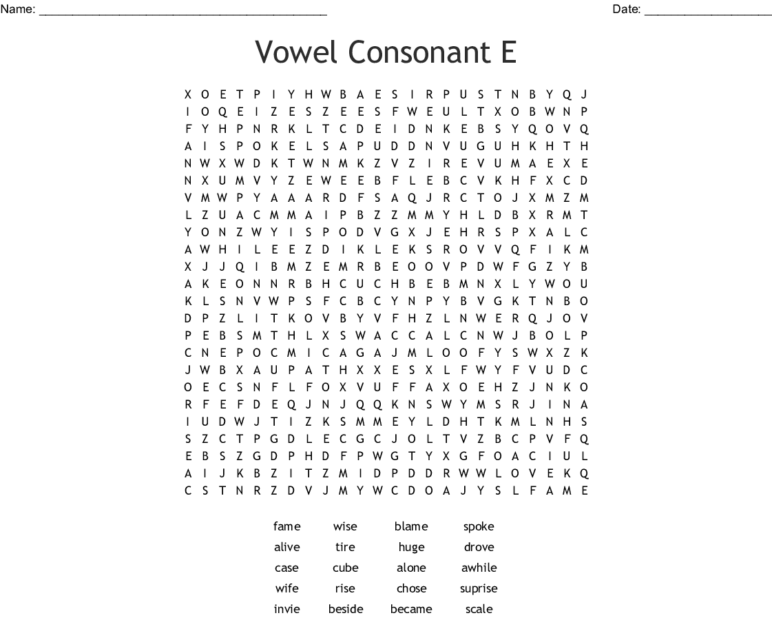 Long Vowels And Silent E Word Search