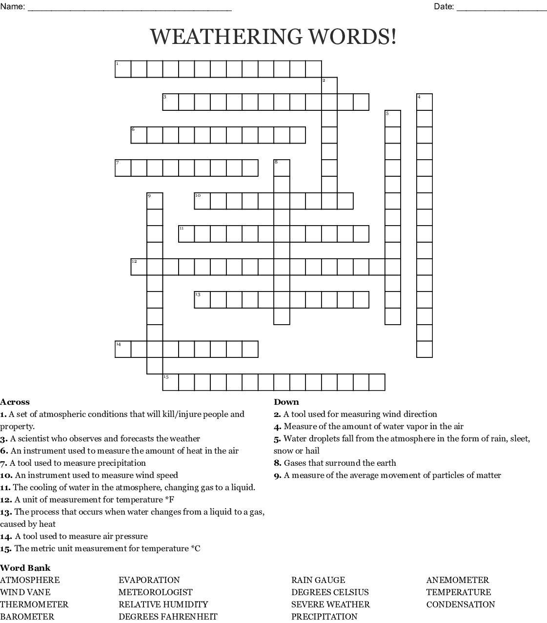 Weathering Words Crossword