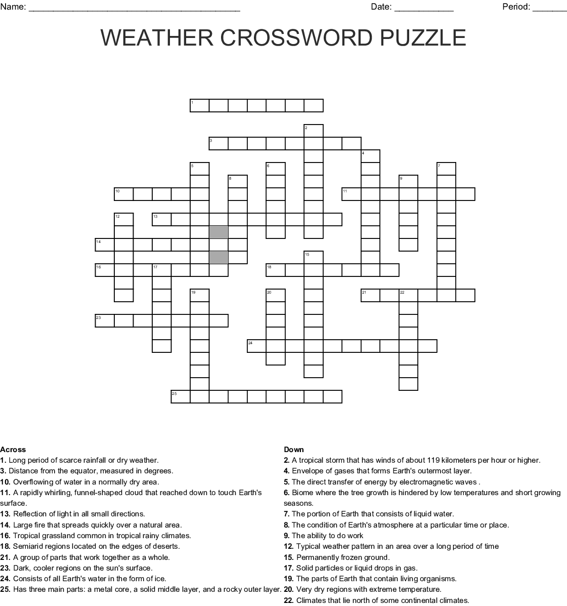 Weather Crossword Puzzle Crossword