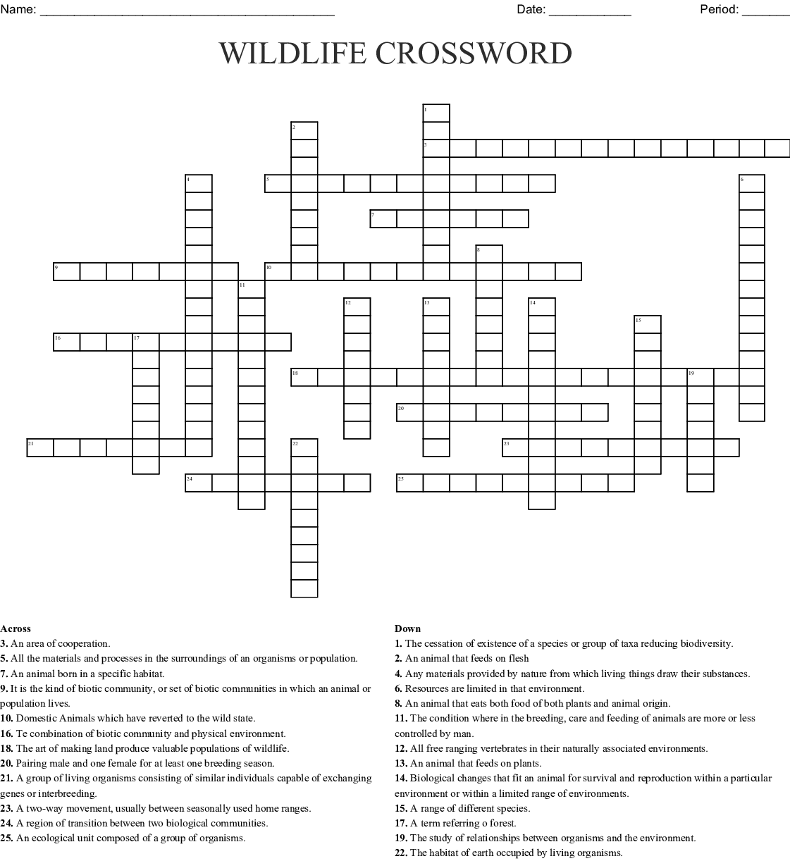 Wildlife Management Crossword