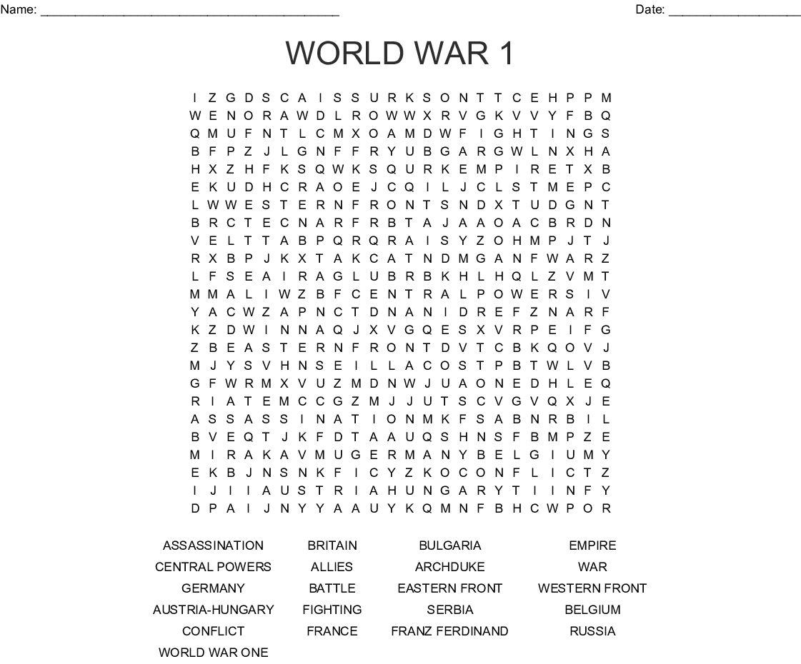 Inspirational World War 1 Wordsearch Puzzle