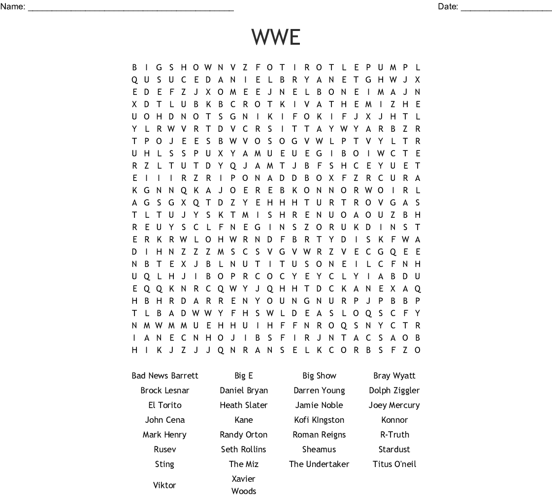Wwe Word Search
