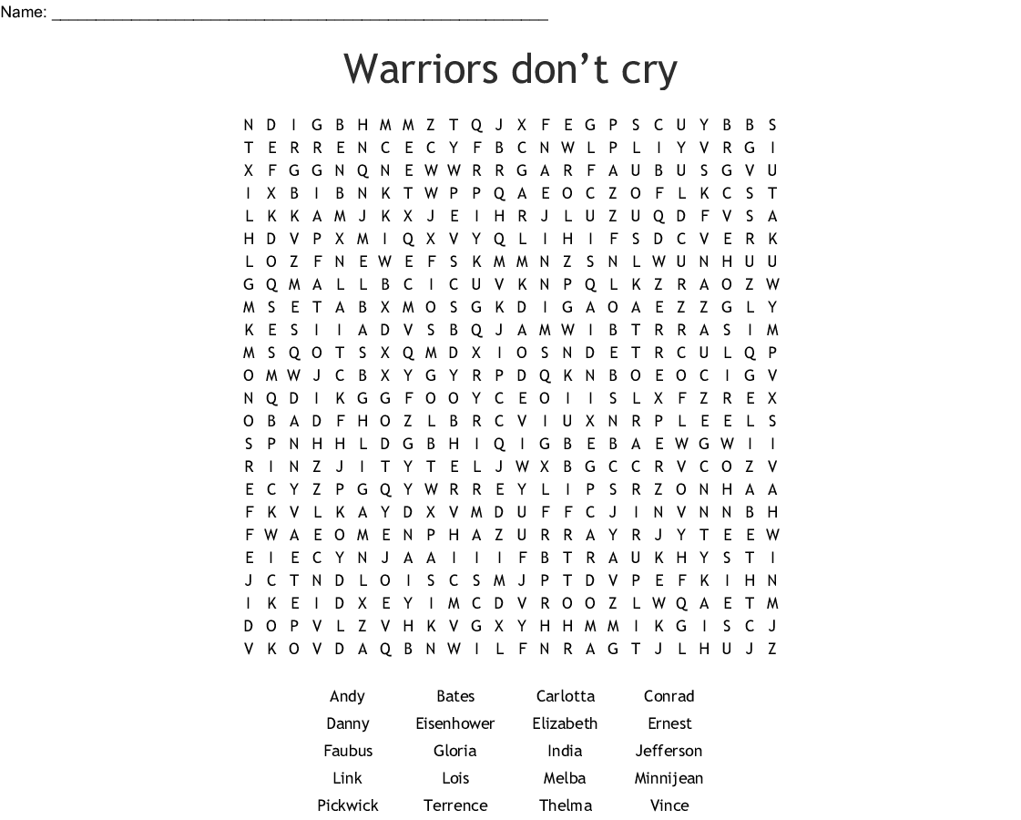 Warriors Don T Cry Characters Word Search