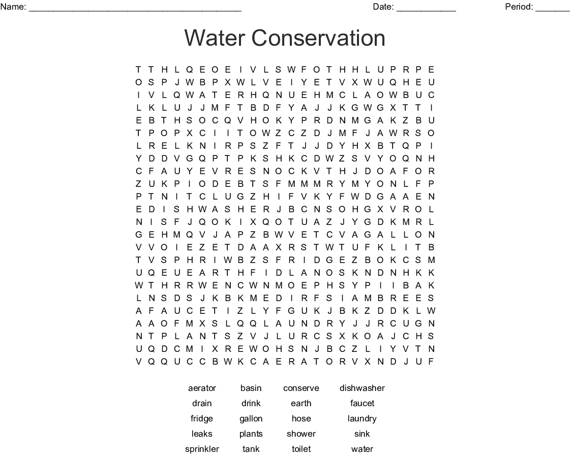Water Conservation Crossword