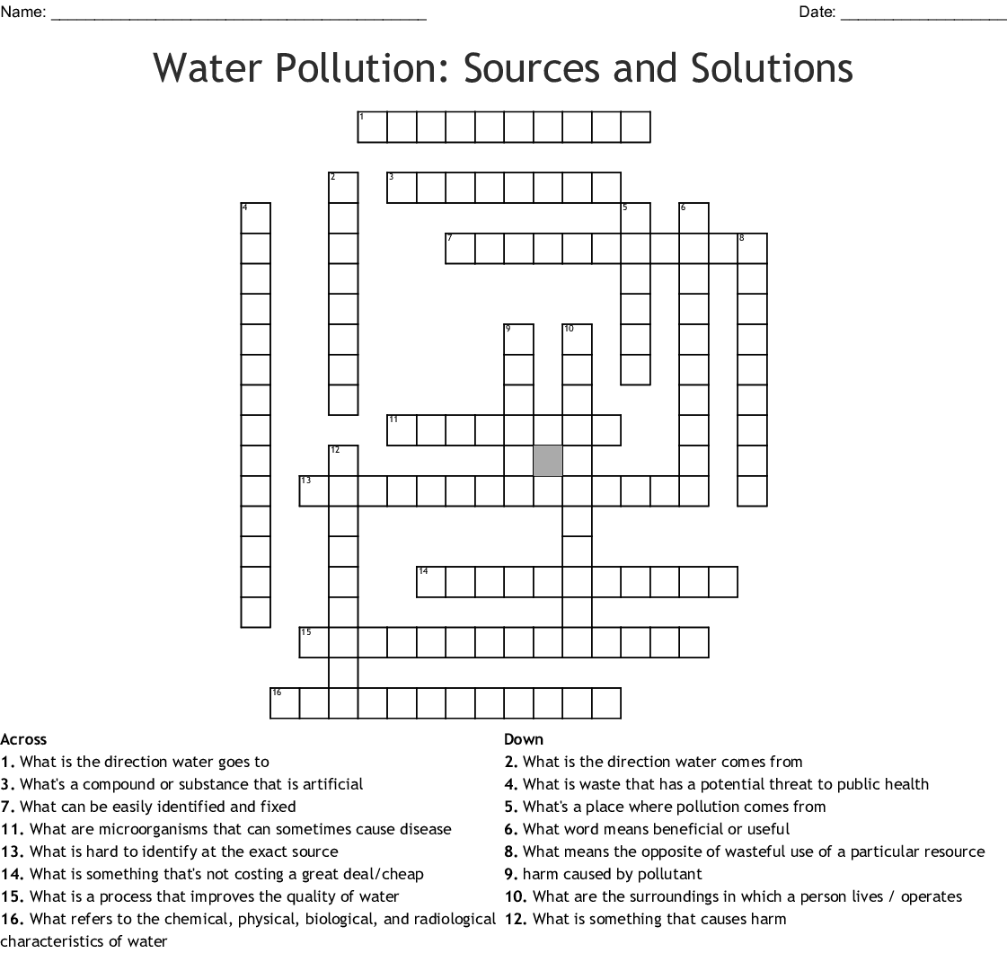 Water Pollution Sources And Solutions Crossword