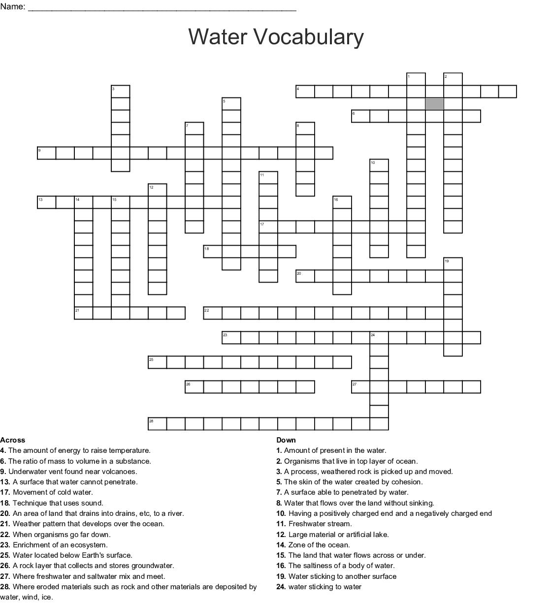 Earth Sciences Crosswords Word Searches Bingo Cards