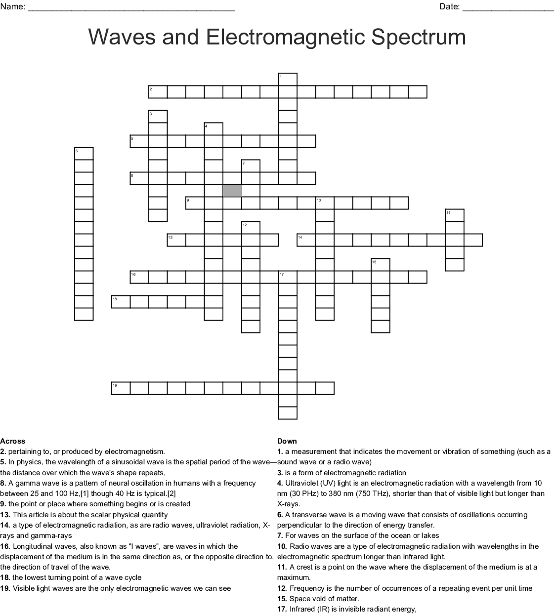 Electromagnetic Spectrum Crossword