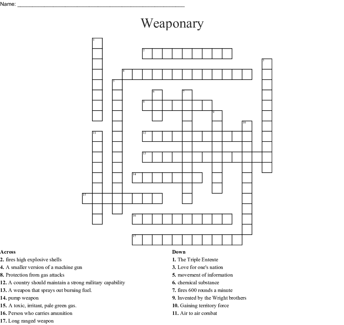 Weaponary Crossword
