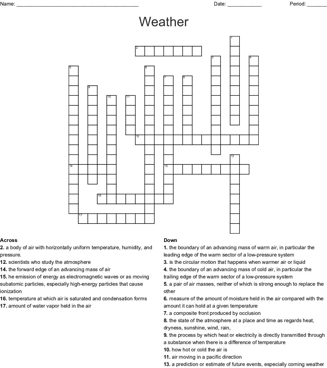 Weather Crossword Puzzle